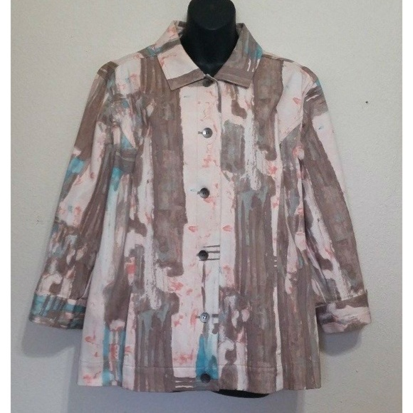 19b166c9cb8 Chico's Jackets & Coats | Chicos Abstract Denim Blazer Brown Pink ...